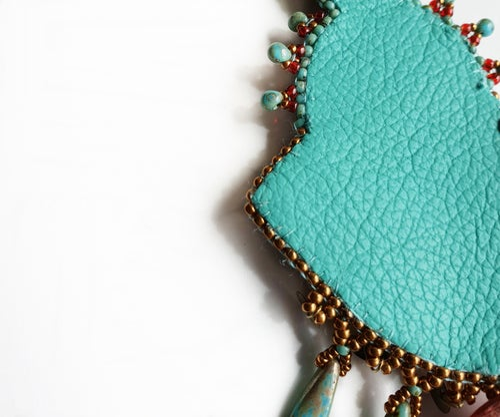 Image of Collier brodé turquoise ARIZONA