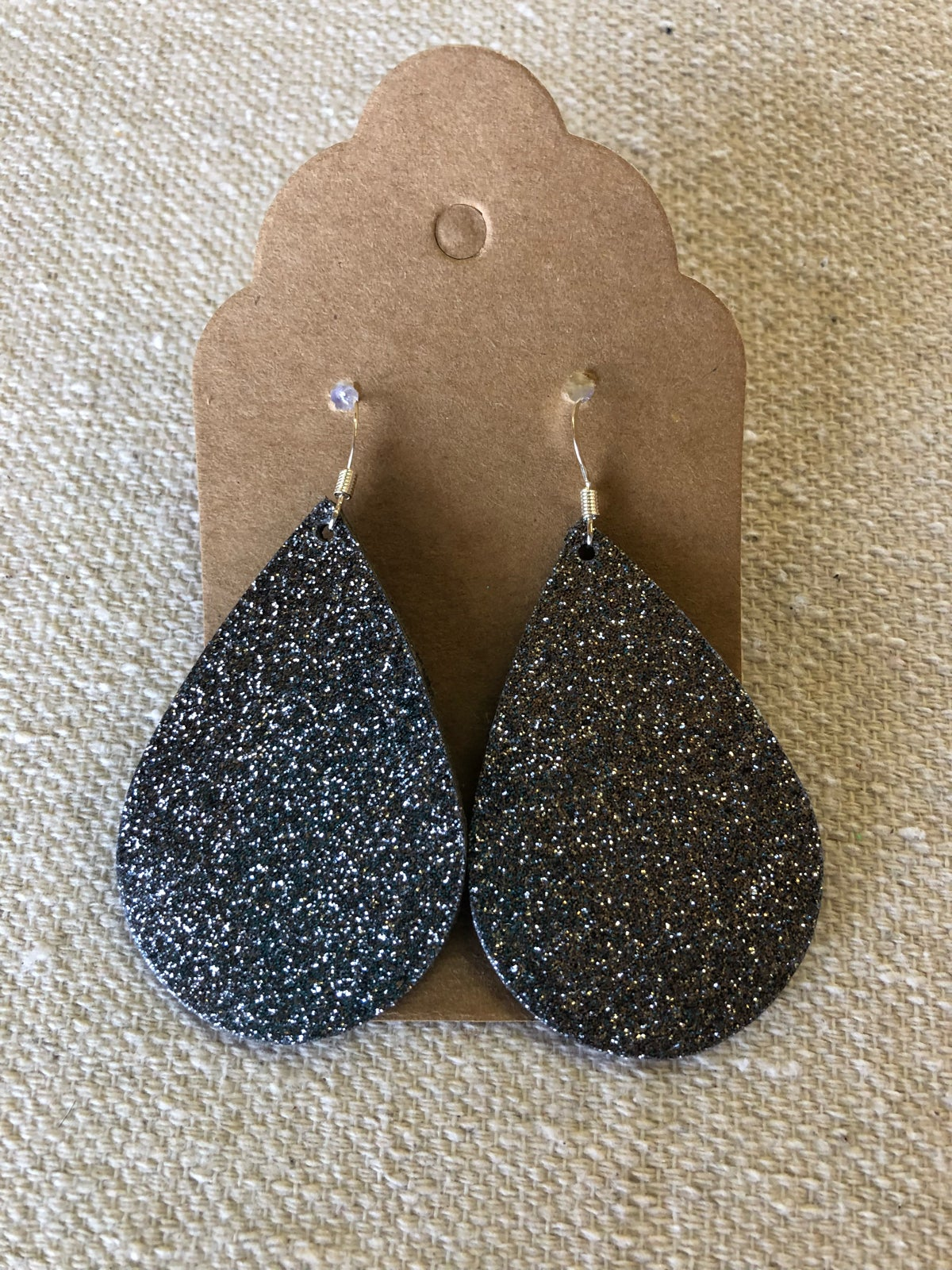 Image of Leather Earrings - Gunmetal Glitter Teardrops