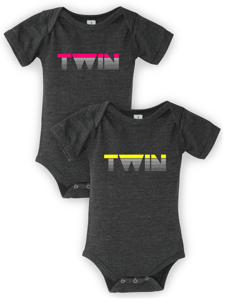 Image of TWIN - Bodysuits in Triblend Dark Gray/Neon Pink/Yellow
