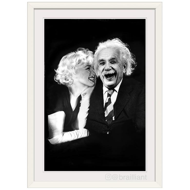 Image of Albert Einstein + Marilyn Monroe, BEAUTY BRAIN Wall Art. ©2015