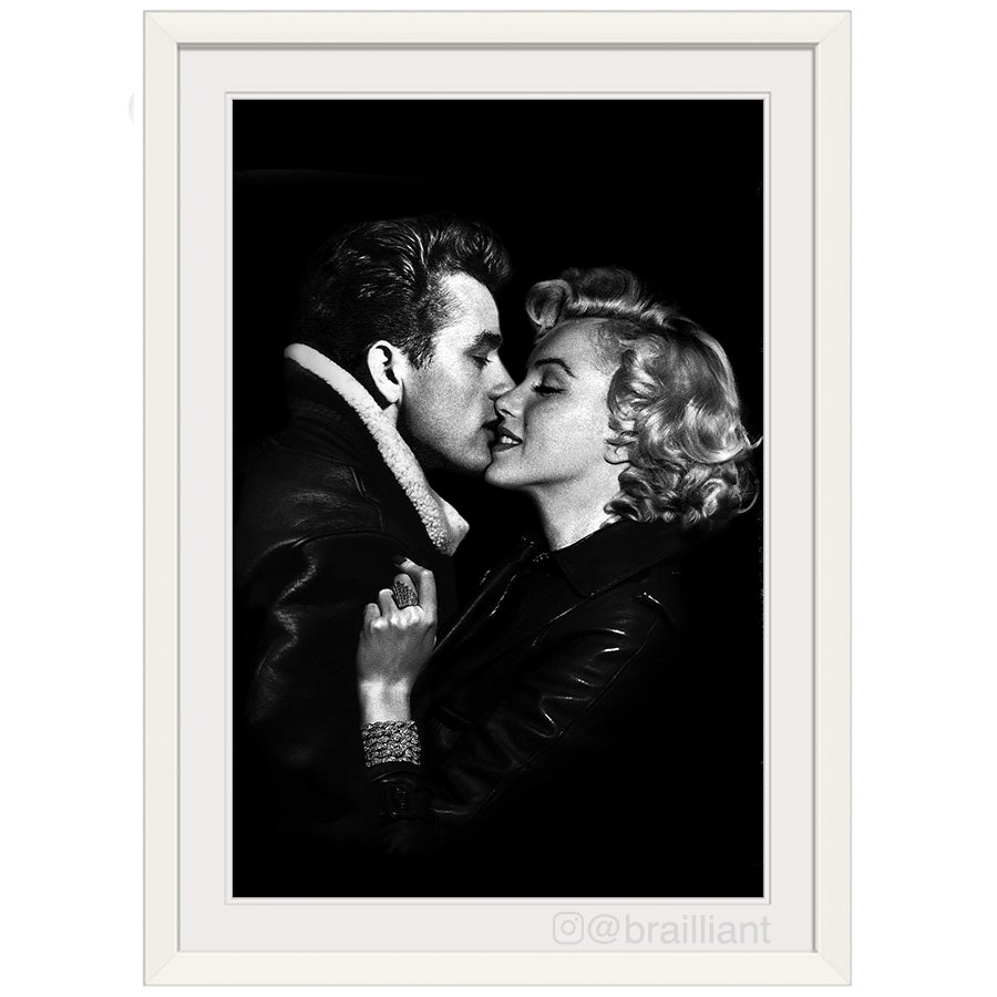 Image of James Dean + Marilyn Monroe, KISS Wall Art. ©2015