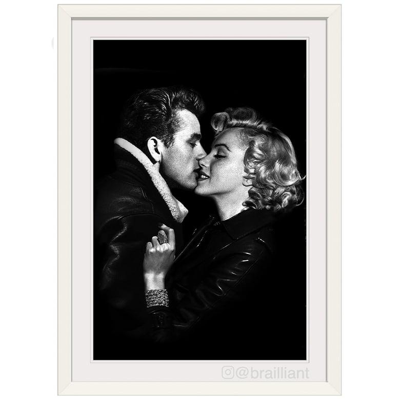 Image of James Dean + Marilyn Monroe, KISS Wall Art. ©2015