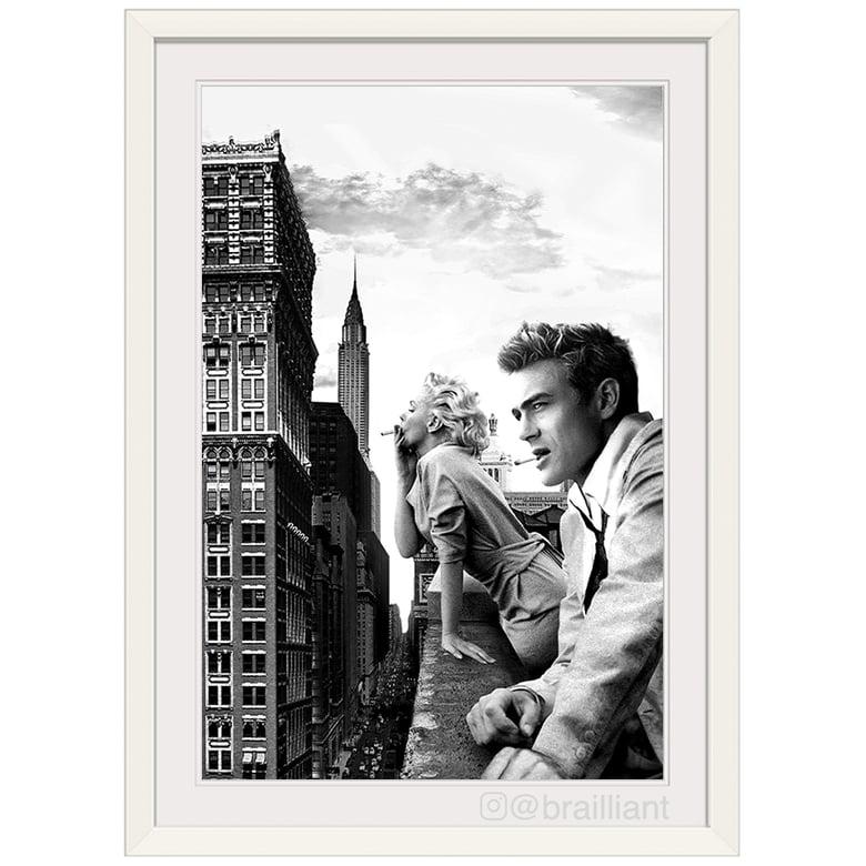 Image of James Dean + Marilyn Monroe, NYC Wall Art. ©2014