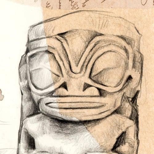 "Image of Paper Art Print - ""Tikis"""