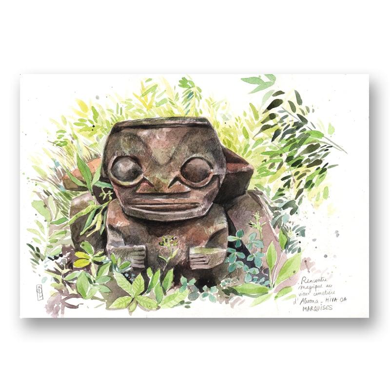 "Image of Paper Art Print - ""Tiki Atuona"""