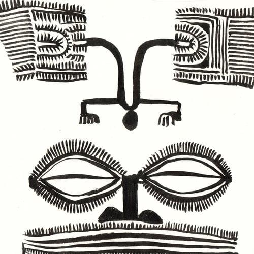 "Image of Paper Art Print - ""Le tiki en bois"""