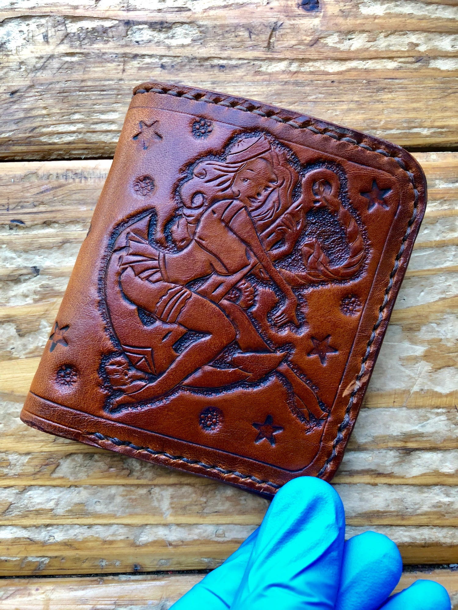 "Image of ""Naughtycal Girl"" Custom Bi-Fold Wallet with Cash Slot and Four Card Slots"