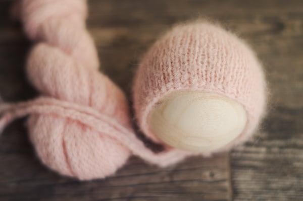 Image of Piglet Pink Brushed Alpaca Bonnet + Wrap