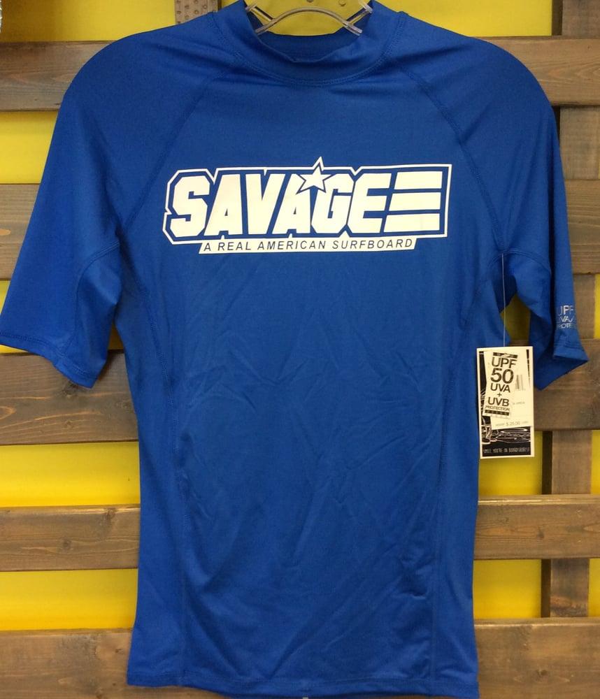 Image of Blue Savage Short Sleeve Rash Guard w/ UV Protection Factor 50 (UVA & UVB)