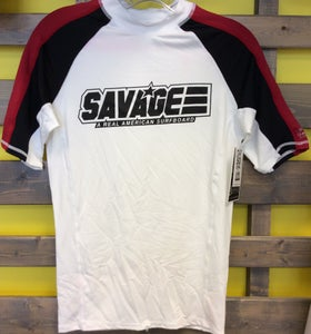 Image of White/Black/Red Savage Short Sleeve Rash Guard w/ UV Protection Factor 50 (UVA & UVB)