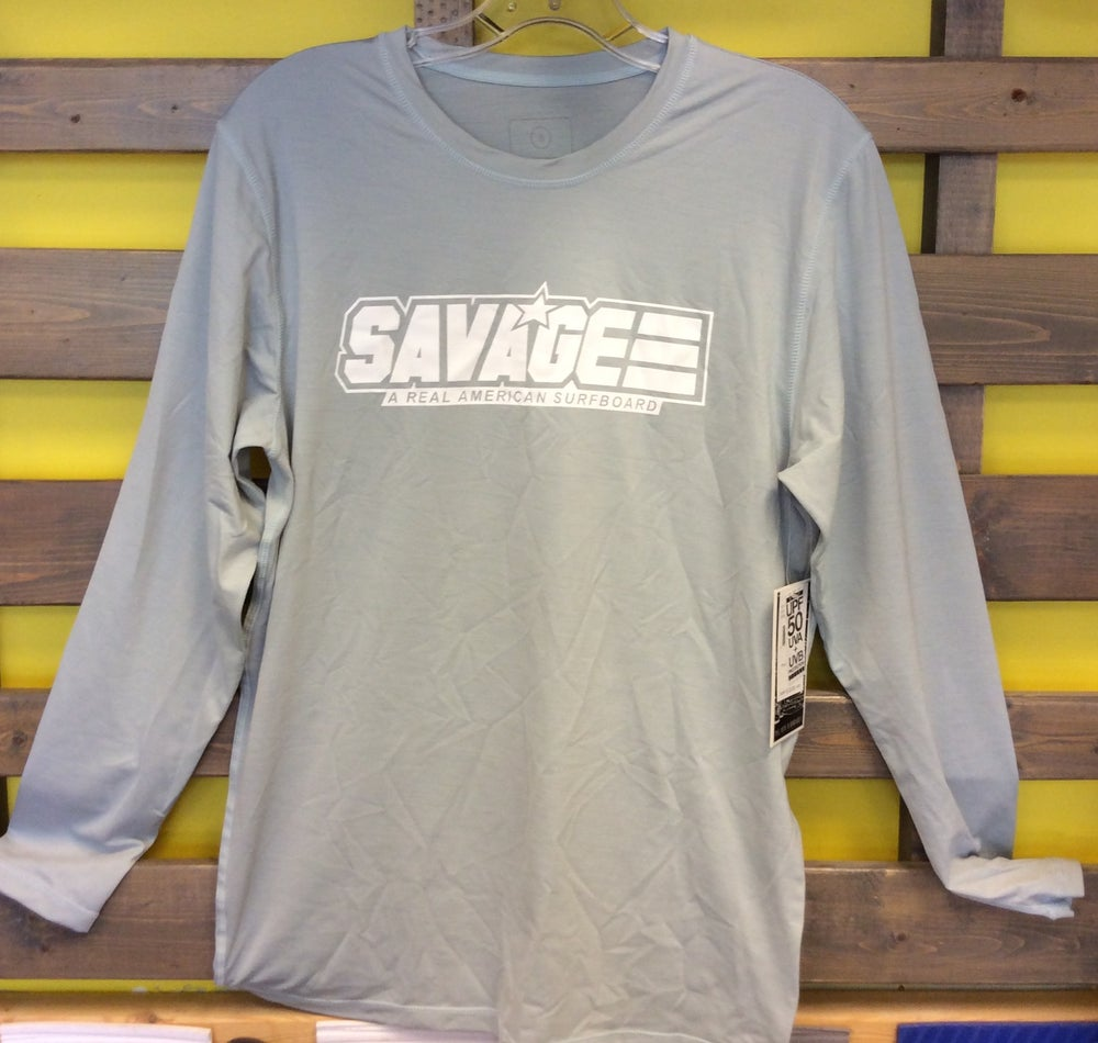 Image of Gray Savage Long Sleeve Rash Guard w/ UV Protection Factor 50 (UVA & UVB)
