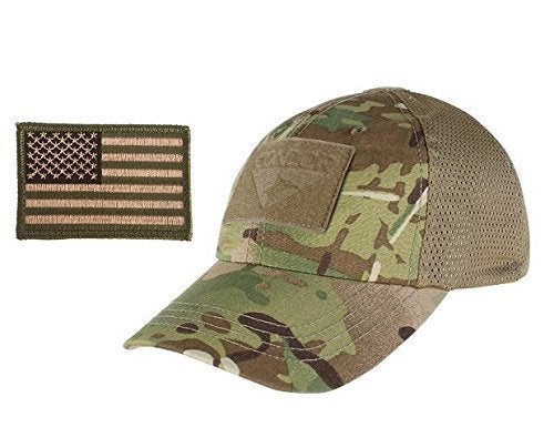 Image of Condor Multicam Mesh Tactical Cap & USA Flag Patch Stitching & Excellent Fit for Most Head Sizes