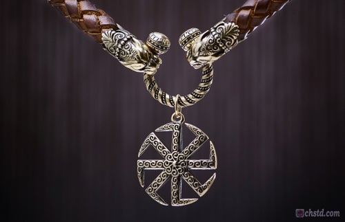 Image of KOLOVRAT - Slavic ancient spiritual symbol - Leather Necklace