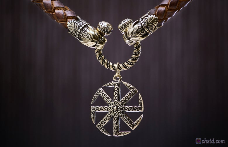 Image of KOLOVRAT - Slavic ancient spiritual symbol - Leather Necklace