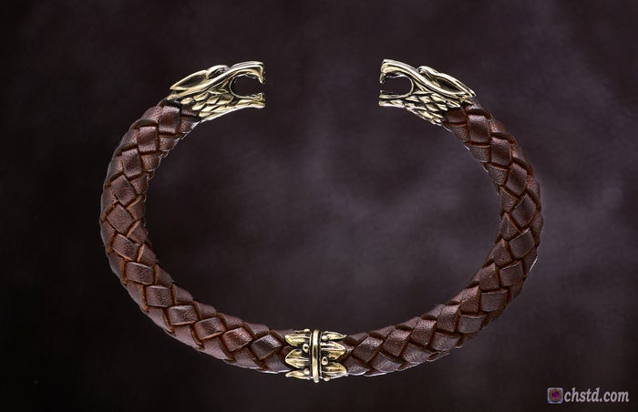 Image of Leather Bracelet / Wolfs / Brown