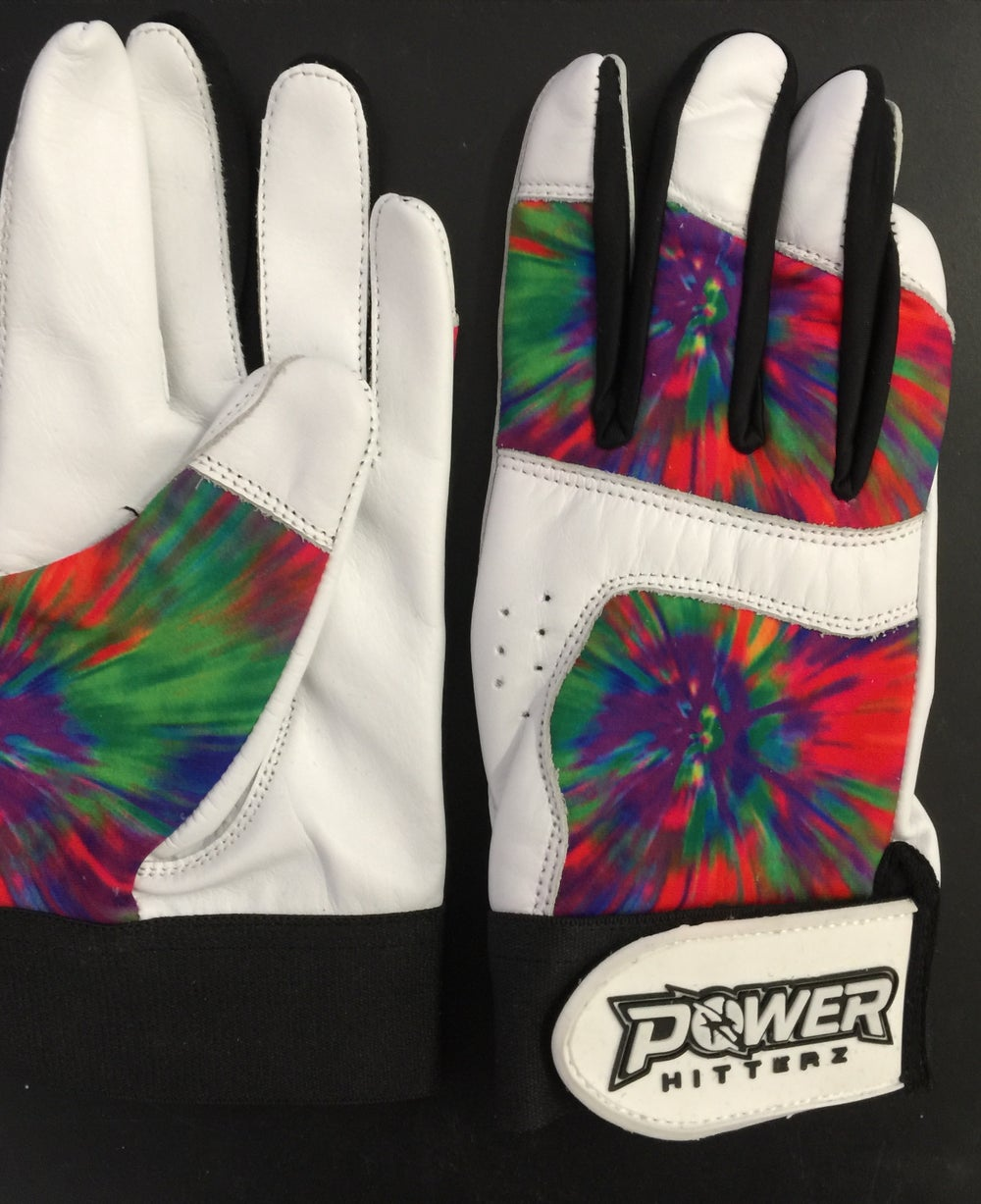 Image of Tie Dye Custom Team Batting Gloves (pair)