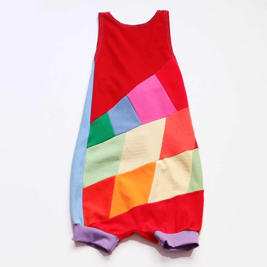 Image of super patchwork 6/7 rainbow romper
