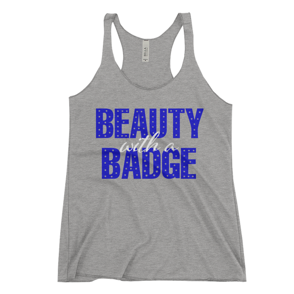 Image of Beauty With A Badge Racerback Tank - Grey