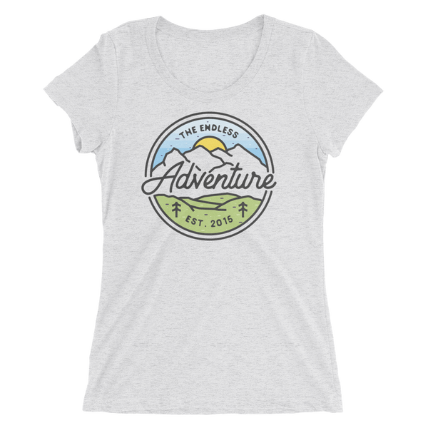 Image of Women's Mountain Badge Tshirt - White Fleck