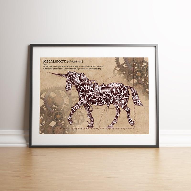Image of Mechanicorn - Mechanical Unicorn Steampunk Print