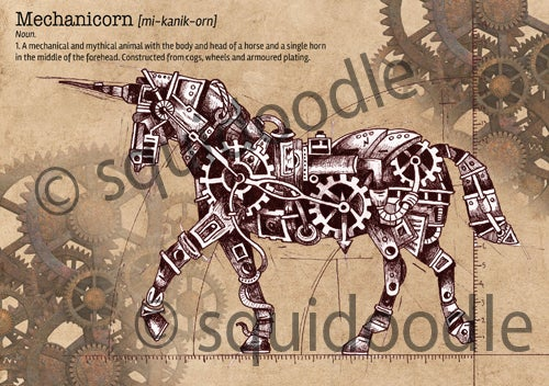 Image of Mechanicorn - Mechanical Unicorn Steampunk Print