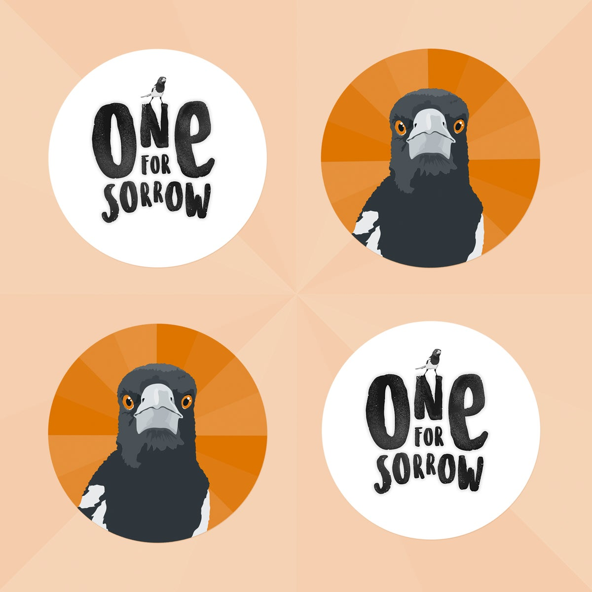 One for Sorrow: Pin Badges and Stickers