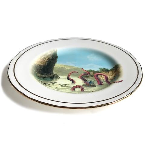 Image of Kraken Attack - Vintage Porcelain Plate #0600