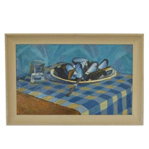 Image of 1957, French Oil on Board; Moules on a Checked Table Cloth Jacques Andre Duffour (1926-2016)