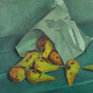 Image of 1950's, French, Oil on Board, Pears in a Paper Bag Jacques Andre Duffour (1926-2016)