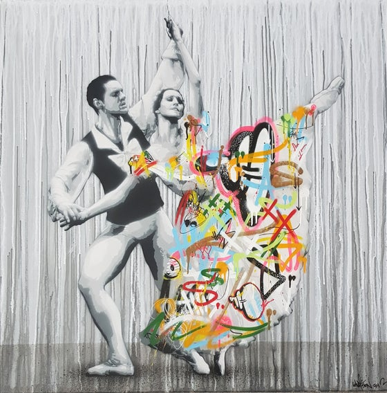 Image of MARTIN WHATSON - DANCERS - 100CM X 100CM ORIGINAL CANVAS