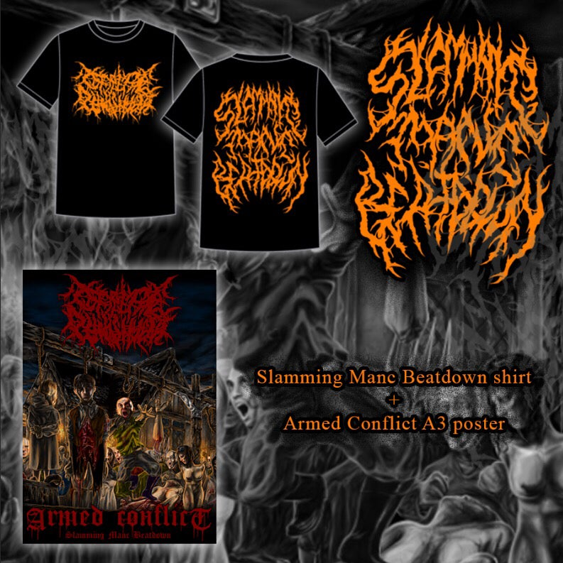 Image of Slamming Manc Beatdown T-shirt with poster bundle