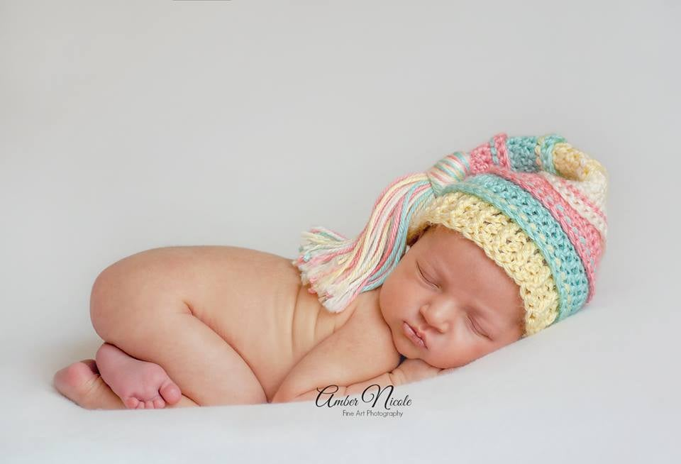 Image of Coral, Aqua, Baby Maize and Ivory Newborn Tassel Hat