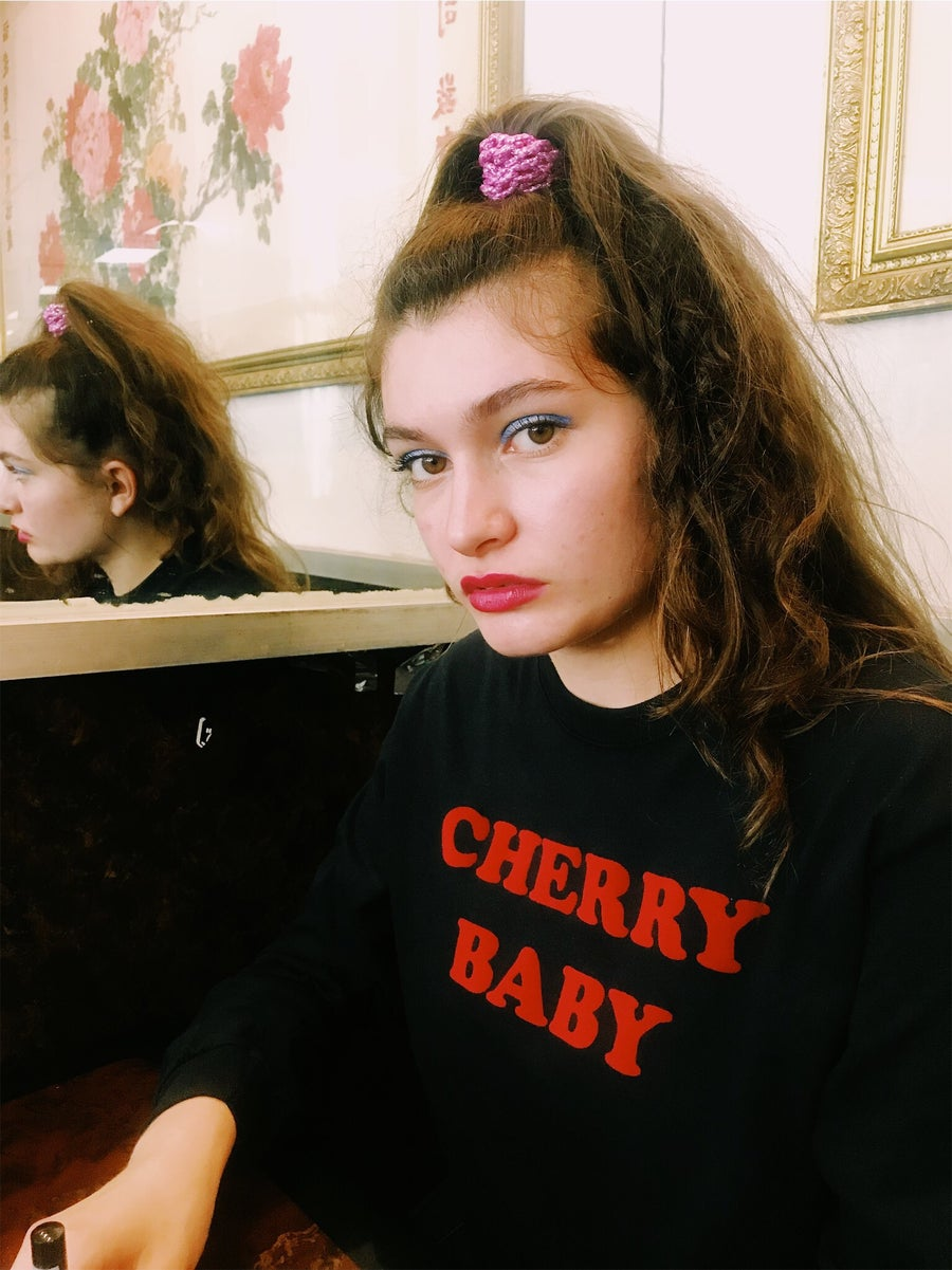 Image of ♡Unisex CHERRY BABY BLACK LONG SLEEVE