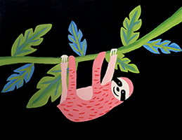 Image of FAMILY POP UP PAINT NIGHT: NIGHT SLOTH Saturday 4 may 5:30 -7:30