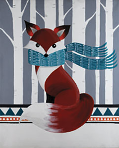 Image of FAMILY POP UP PAINT NIGHT: WINTER FOX SATURDAY 31 AUGUST 5:30PM - 7:30PM