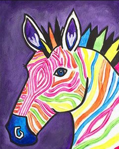 Image of FAMILY POP UP PAINT NIGHT: ELECTRIC ZEBRA Saturday 19 October 5:30 - 7:30