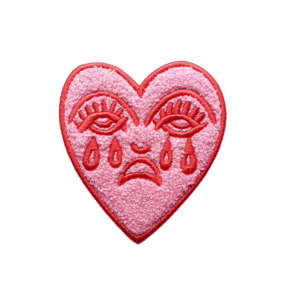 Image of Crying Heart Chenille Patch - Pink & Red