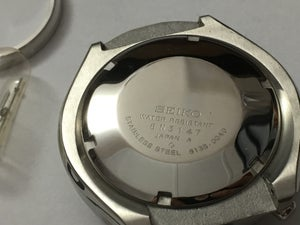 Image of NEW SEIKO BULL HEAD 6138-0040 MENS COMPLETE WATCH CASE,ALL BLACK DIAL.
