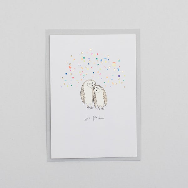 Image of Je Taime Valentine Owls with Confetti