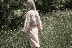 Image of Dusty Rose Linen Robe/Linen Coat botanical dyed SIZE S/M