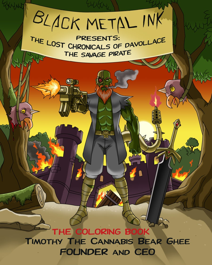 Image of The Lost Chronicles of Davollace, The Savage Pirate (Adult Sci-Fi Coloring Book) 46 Character pages