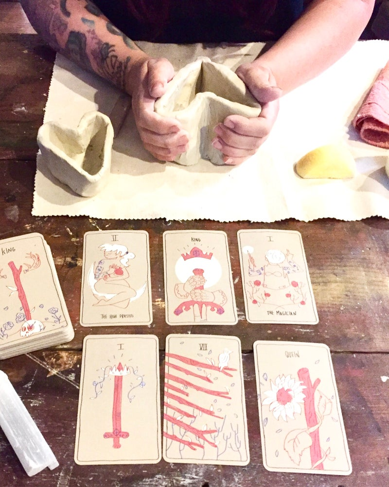 Image of dirty hands tarot reservation (50% of total cost)