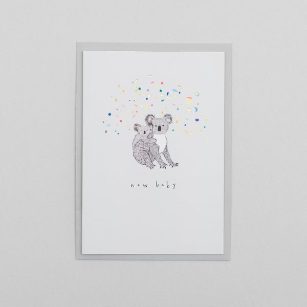 Image of New Baby Koala Card with Gold Foil Confetti