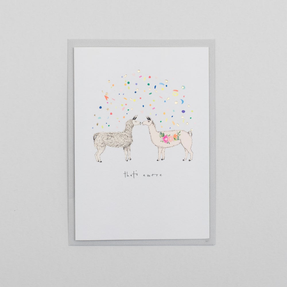 Image of Thats Amore Valentines Llamas with Gold Foil Confetti