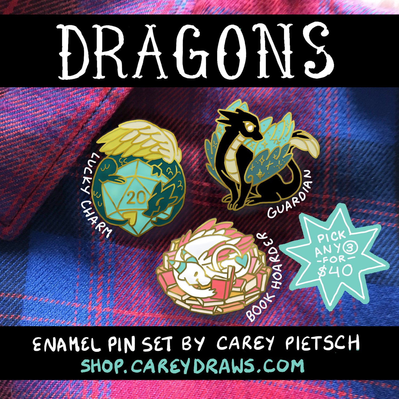 Image of Set of any 3 Dragon hard enamel pins