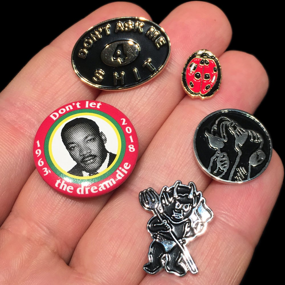 Image of 2018 Pins & Buttons (Ladybug/Devil/Molotov/DAM4S)