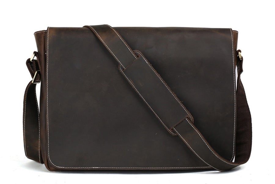 Image of 15'' Genuine Leather Men Messenger Bag Laptop Bag Crossbody Bag 1053L