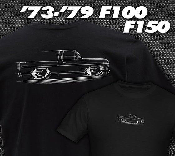 Image of '73-'79 Ford F100 Truck T-Shirts Hoodies Banners