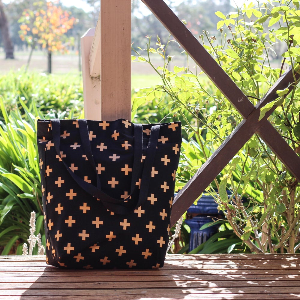 Image of Black and Gold Cross Tote Bag