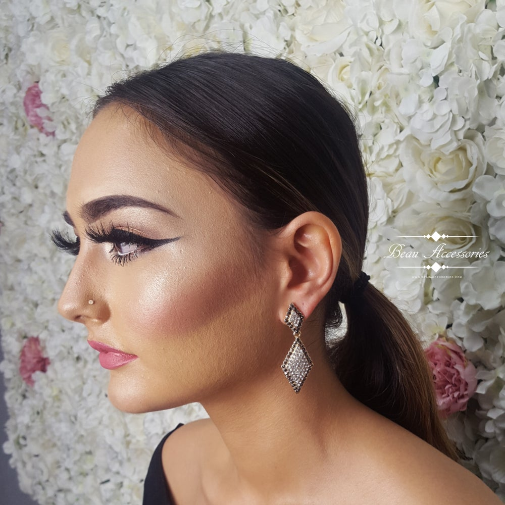 Image of Grey with Gold Diamond Earrings